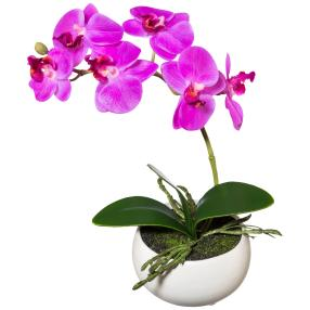 Orchidee lila, real-touch, 23cm in Keramikschale