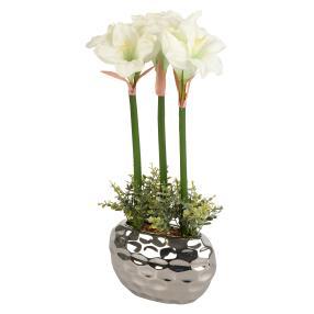 LED-Amaryllis weiß, im Silbertopf