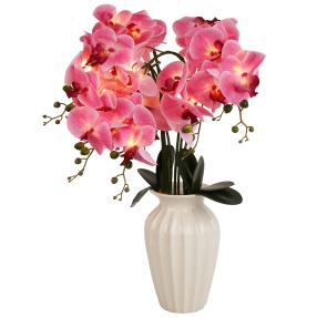 LED-Orchidee rosé in Keramikvase weiß