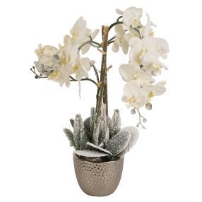 LED-Orchidee weiß, im Keramiktopf