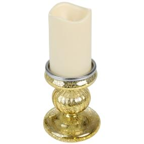 LED-Kerzenständer Glas mit Kerze 2tlg. gold