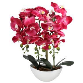 LED-Orchidee pink im Keramiktopf