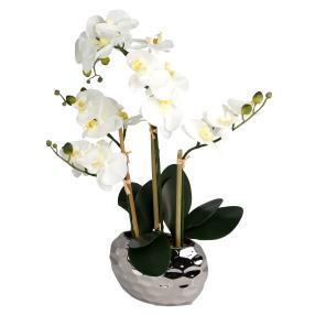 LED-Orchidee weiß Silbertopf