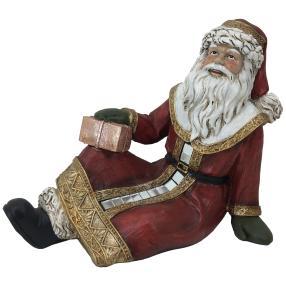 Dekofigur Weihnachtsmann rot sitzend