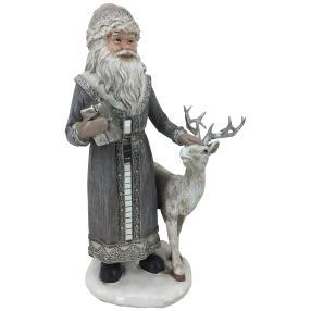 Dekofigur Weihnachtsmann mit Rentier silber
