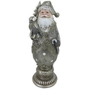 Dekofigur Weihnachtsmann silber