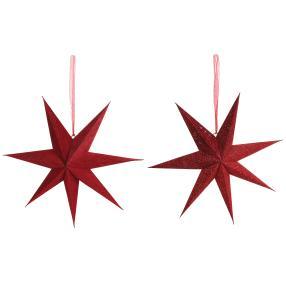 Papier-Leuchtstern rot, 2er-Set, 7 Zacken, 60 cm