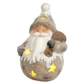 LED-Dekofigur Weihnachtsmann beige-braun