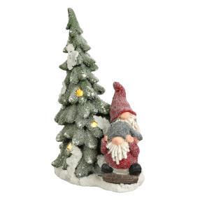 LED-Deko Gnome mit Baum rot-grün