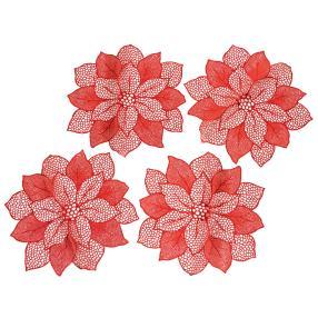 Platzset Weihnachtsstern 4-teilig, rot