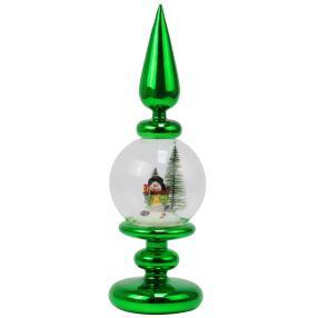 Crystal Dreams LED-Glasdeko Schneemann grün