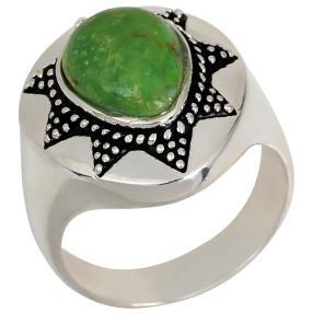 Ring 925 St. Silber grüner Türkis stabilisiert