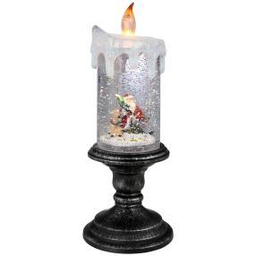 LED-Glitzerkerze Weihnachtsmann mit Rentier
