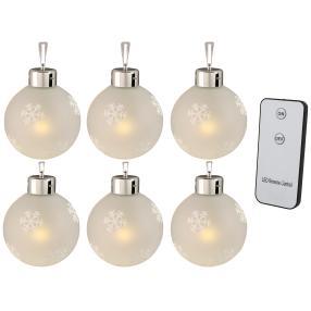 LED-Glaskugeln 6er Set, mit Fernbedienung