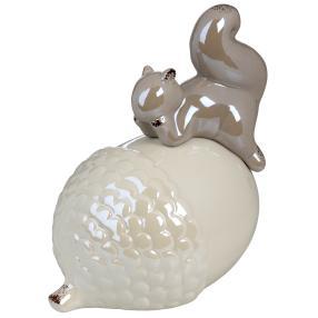 Keramik-Nuss mit Eichhörnchen