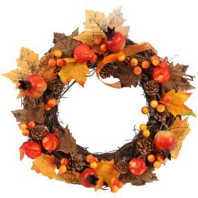 Deko-Herbstkranz Rattan, orange-braun