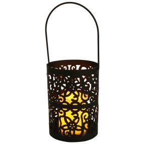 LED-Laterne schwarz, Blüten & Ornament