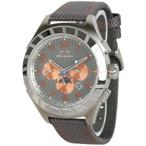 "deLorean Herren-Automatikuhr ""Twist"" grau-orange"
