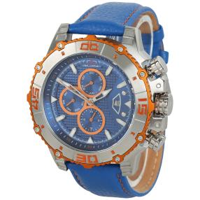 "deLorean Herren-Automatikuhr ""Spiral"" blau-orange"
