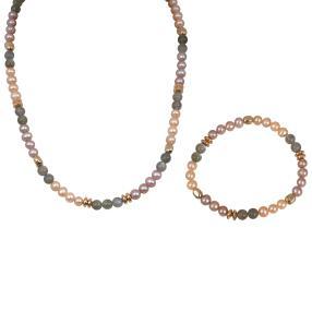 Set Collier+Armband Süßwasserzuchtperle, Hämatit