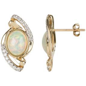 Ohrstecker 585 Gelbgold Äthiopischer Opal