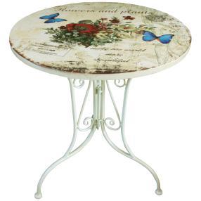 Bistro Tisch floral, weiß