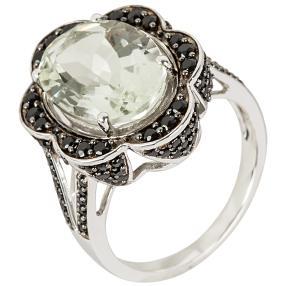 Ring 925 Sterling Silber Prasiolith Spinell