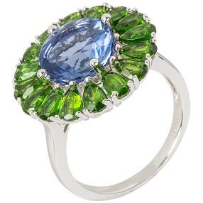 Ring 925 Sterling Silber Fluorit Chromdiopsid