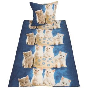 WinterDreams Bettwäsche 2tlg. Katzen blau