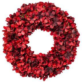 Hortensienkranz mit Glitter, bordeaux-rot