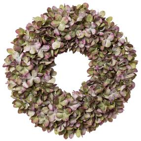 Hortensienkranz mit Glitter, lila-grün