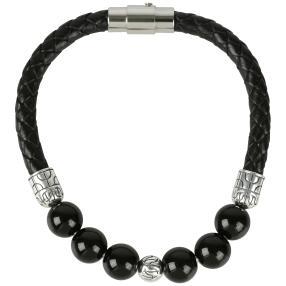 Armband Leder 925 Onyx