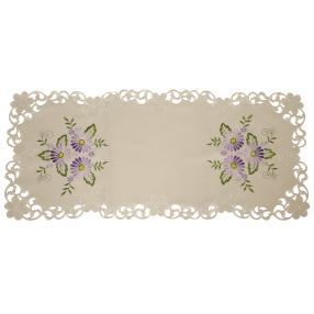 Tischläufer Blumen lila 40x90cm bestickt