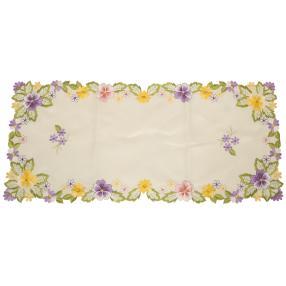 Tischläufer Blumen bunt bestickt, 40 x 90 cm
