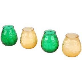 Glaswindlicht mit Kerze 4tlg. gelb grün