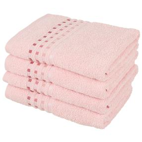Handtuch 4tlg. Karo rosa 50x100 cm