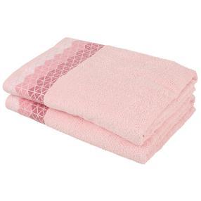 Duschtuch 2-teilig, grafisch rosa, 70 x 140 cm