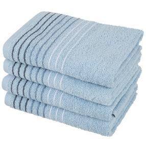 Handtuch 4-teilig, Streifen blau, 50 x 100 cm
