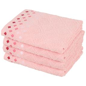 Handtuch 4-teilig, Raute rosa, 50 x 100 cm