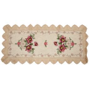 Tischläufer floral mit Spitze, 40 x 90 cm