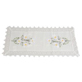 Tischläufer Blumen weiß, bestickt