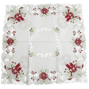 Mitteldecke Kerzen weiß-rot 85x85cm bestickt