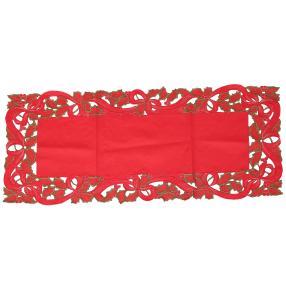 Tischläufer Weihnachten, bestickt, rot
