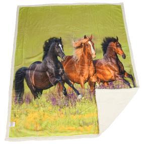 Sherpa-Decke Pferde, 130 x 160 cm