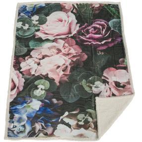 Sherpa-Decke Blumen, 130 x 160 cm