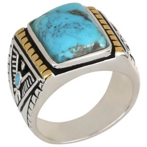 Ring 925 St. Silber bicolor, Türkis stabilisiert
