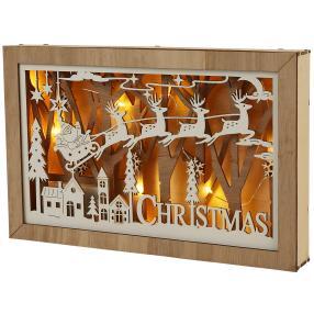 Holzdeko Santa Schlitten, 15 warm weiße LEDs