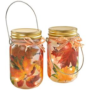 Sparset LED-Glasleuchte Herbst 2er Set
