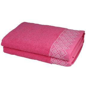 Duschtuch 2tlg. Grafik pink 70x140 cm