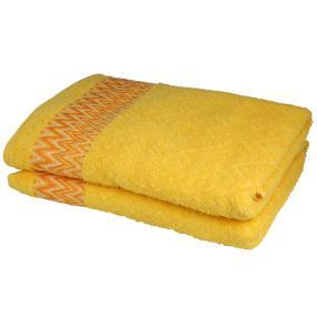 Duschtuch 2-teilig, grafisch gelb